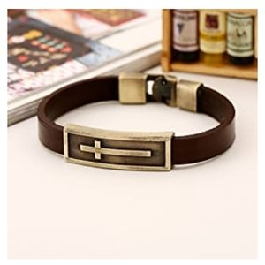 *NWT* Metal Cross Leather Bracelet Wristband